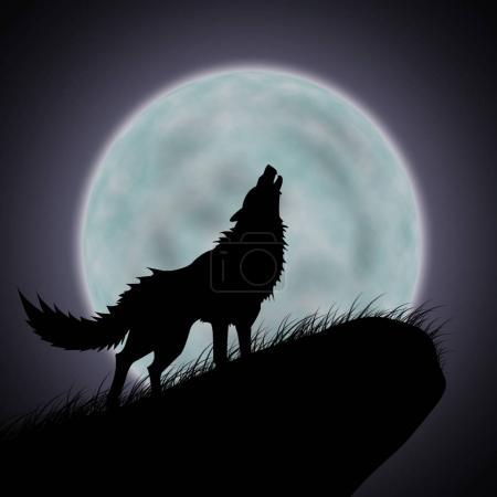Photo pour Loups hurlent et la pleine lune - image libre de droit