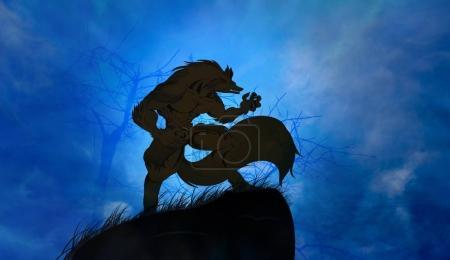 Photo pour Loup-garou hurlant sur la pleine lune - image libre de droit