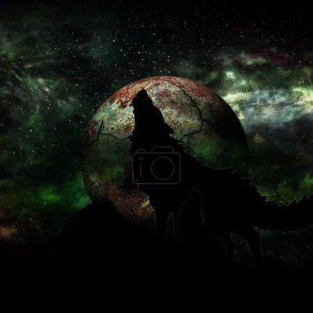 Photo pour Loup et pleine lune - image libre de droit