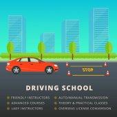 Driving school web banner advertisement design Car driver class