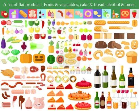 Illustration pour Ensemble de plats. Fruits et légumes. Gâteau et pain. Viande et alcool - image libre de droit