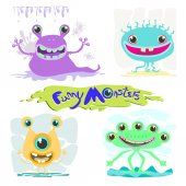 Funny monsters Vector illustration of animals monsters