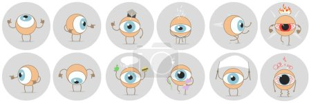 Cartoon eyes with different expressions, showing t...