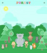 Animals of the forest Other plush animals in the forest  a boy and a girl Vector cartoon