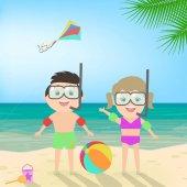 Summer beach holiday Boy and girl in scuba mask at the beach Diving Sea landscape vector cartoon