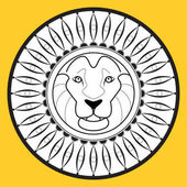 The muzzle of a lion logo images on the shield Vector