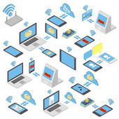 Set of different wireless mobile devices buying on the internet for sale Isometric vector illustration