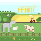 Farm Livestock on the farm rural landscape Vector material design