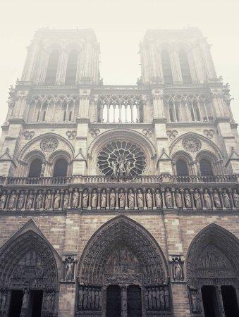 Photo pour Façade de la cathédrale Notre Dame de Paris dans une matinée brumeuse. - image libre de droit