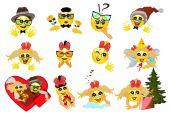 Set of twelve funny emoticons