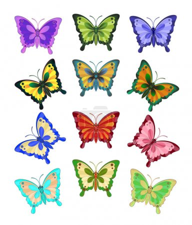 A set of twelve brightly coloured butterflies