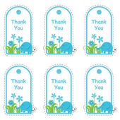 Baby shower tag card with cute elephant and flowers suitable for tag card sticker set and clip art