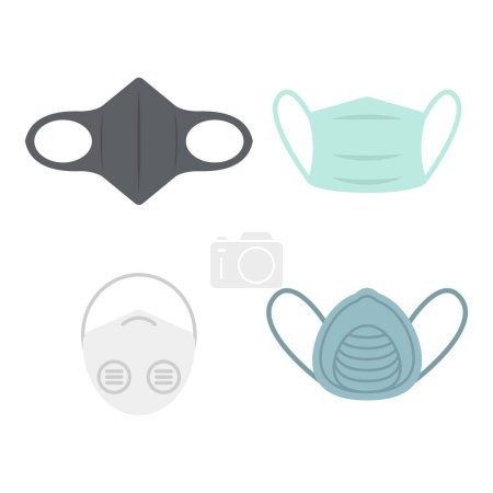 Illustration pour Masque de pollution médicale. Vecteur de protection contre les dangers de la poussière de smog pm2.5 - image libre de droit