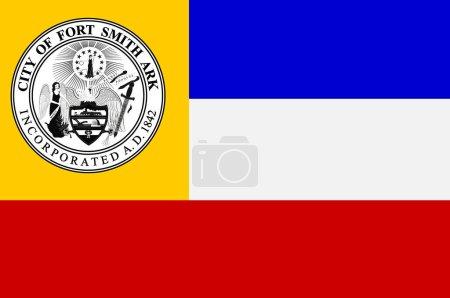 Photo pour Drapeau de Fort Smith est la deuxième plus grande ville de l'Arkansas et l'un des deux sièges du comté de Sebastian. Illustration 3d - image libre de droit