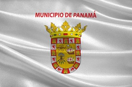Photo pour Drapeau de Panama City est la capitale et la plus grande ville de Panama. Illustration 3d - image libre de droit