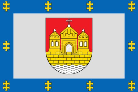 Photo pour Drapeau du comté de Klaipeda est l'un des dix comtés de Lituanie. Illustration 3d - image libre de droit