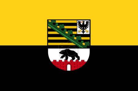 Photo pour Drapeau de Saxe-Anhalt est un État fédéral enclavé de l'Allemagne. Illustration 3d - image libre de droit