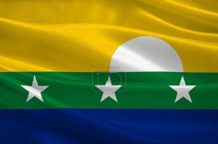 Photo pour Le drapeau de l'État de New Sparta est l'un des 23 États du Venezuela. Illustration 3d - image libre de droit