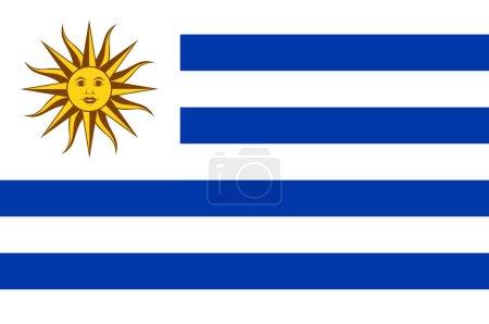 Photo pour Drapeau de l'Uruguay officiellement la République orientale de l'Uruguay est un État souverain dans la région du sud-est de l'Amérique du Sud. Illustration 3d - image libre de droit
