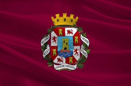 Photo pour Drapeau de Carthagène est une ville espagnole et une station navale majeure située dans la région de Murcie, au sud-est de l'Espagne. Illustration 3d - image libre de droit