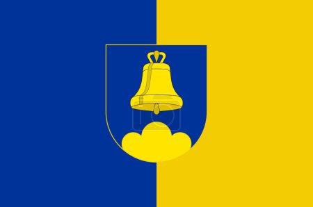 Photo pour Flag of Triesenberg est une municipalité du Liechtenstein. Illustration 3d - image libre de droit
