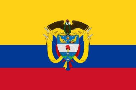 Photo pour Drapeau de la République de Colombie est un État souverain en grande partie situé dans le nord-ouest de l'Amérique du Sud, avec des territoires en Amérique du Nord. Illustration 3d - image libre de droit