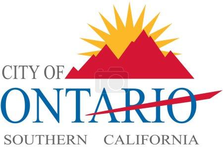 Photo pour Flag of Ontario est une ville située dans le sud-ouest du comté de San Bernardino, en Californie. Illustration 3d - image libre de droit