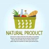 Stromové listí ikonu. Ekologické potraviny nakupovat Logo šablona návrhu vektorové. Nákupní košík s ekologicky šetrné výrobky. Logo pro obchod. Vektorové ilustrace