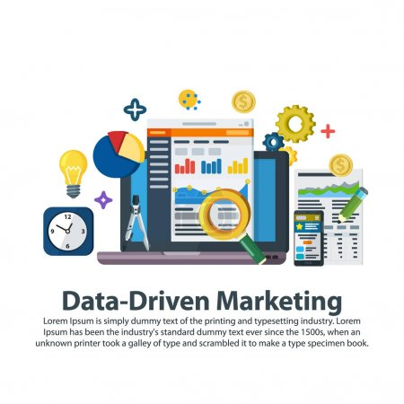 Data driven marketing strategy. Web template in flat style. Business development, lead generation, revenue increase. Business growth analytics and valuation development. Vector illustration.