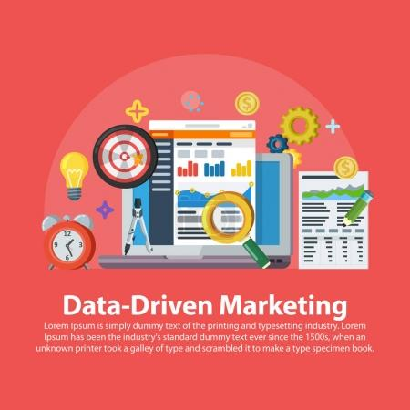Data driven marketing strategy. Web banner in flat style. Lead generation, profit, business growth concept with icons. Business growth analytics and valuation development. Vector illustration.