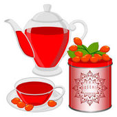 vector illustration logo for home tea cup rosehip