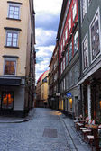 Narrow street paved with stones in Stockholm