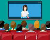Video conference concept Room with chairs and crowd big digital screen Director communicates with staff  Online meeting video call webinar or training illustration in flat style