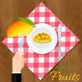 Plate with mango knife spoon and fork icon isolated Vector vegetarian organic healthy food cuisine organic natural realistic fruit