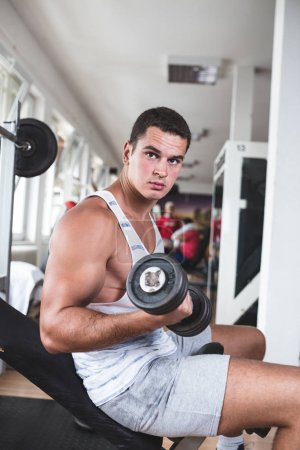 Photo for Young attractive adult man exercising and doing weight lifting at fitness gym. Sport training indoors - Royalty Free Image