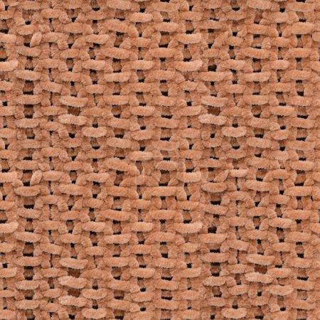 Photo pour Texture transparente de brun tricoté pull. La main tricoté grande couverture motif. Texture de fond tissu. - image libre de droit