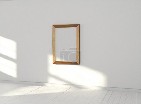 room with blank picture frame on wall