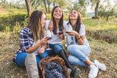 Girls drinking wine in the garden