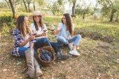 Women drinking wine in the garden