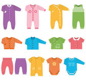 Vector icons of baby clothes