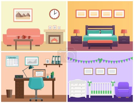 Illustration for House interior living room, bedroom, office place, baby nursery. Flat vector design with furniture including sofa, fireplace, bed, desk, laptop, crib and changing table. - Royalty Free Image