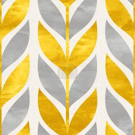 Photo pour Fond design scandinave avec des feuilles dorées et grises - image libre de droit