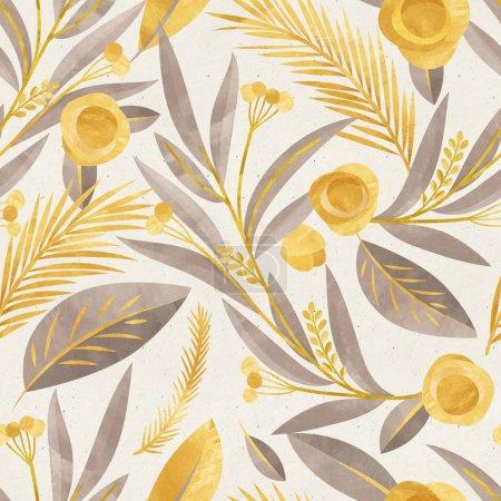 Photo pour Modèle d'aquarelle transparente avec l'automne fleurs jaunes sur la texture du papier - image libre de droit