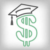 Graduate Student Loan Icons - Student Loan Graphics for Education Financial Aid or Assistance Government Loans and Debt