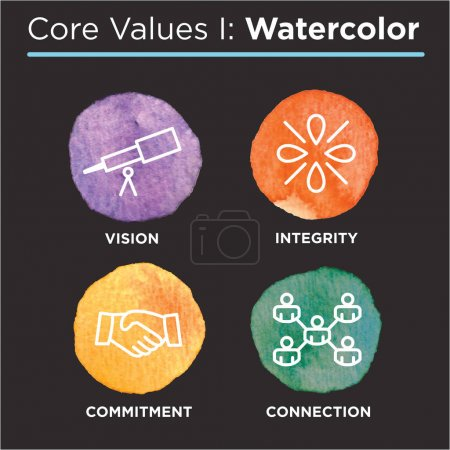 Company Core Values Watercolor Icons for Websites or Infographics