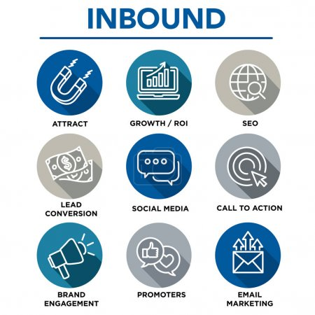 Inbound Marketing Vector Icons with growth, roi, call to action,