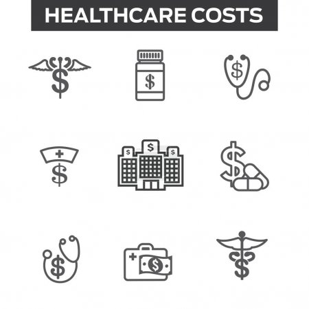 Illustration for Healthcare costs & expenses showing concept of expensive health care - Royalty Free Image