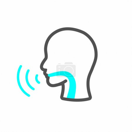 Vocal cord icon with person image vector illustration