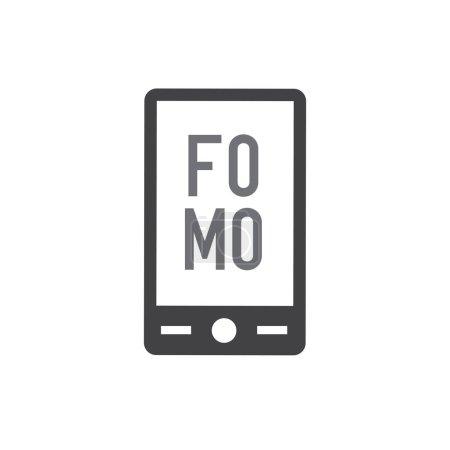FOMO Icon - Fear of Missing Out Trendy Modern Acronym - Social Media