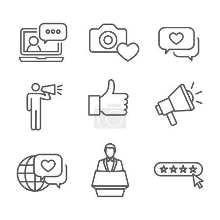 Illustration pour Marque Ambassadeur Ligne mince Aperçu Icône Set w mégaphone, influenceur marketing personne et représentant - image libre de droit